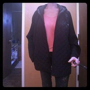 Denim & Co. Black Puffy Hooded Jacket